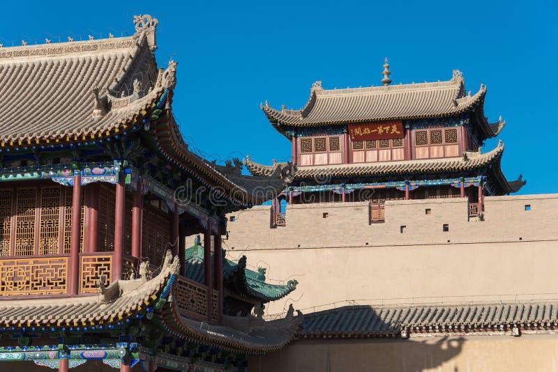 JIAYUGUAN, CHINA - Apr 13 2015: Jiayuguan Pass, west end of Great Wall. a famous Historical site(UNESCO World Heritage Site) in J. Iayuguan, Gansu, China stock images