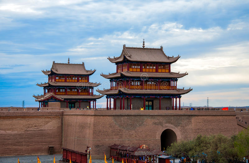 Jiayuguan Fortress in China stock photo