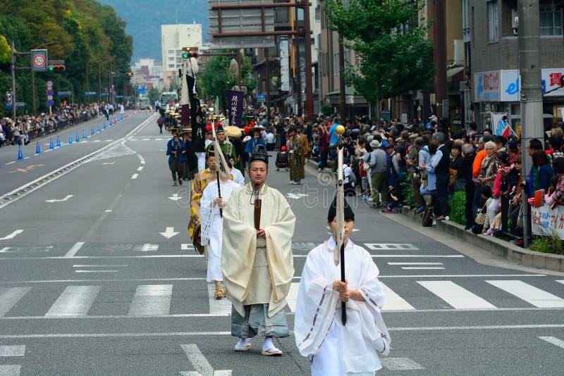 Jidai historisk festival, Kyoto, Japan royaltyfria foton