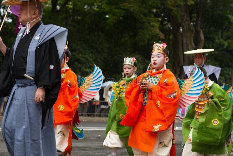 Jidai Matsuri festival royaltyfria foton