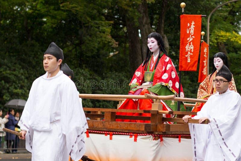 Jidai Matsuri festival i Japan arkivbilder