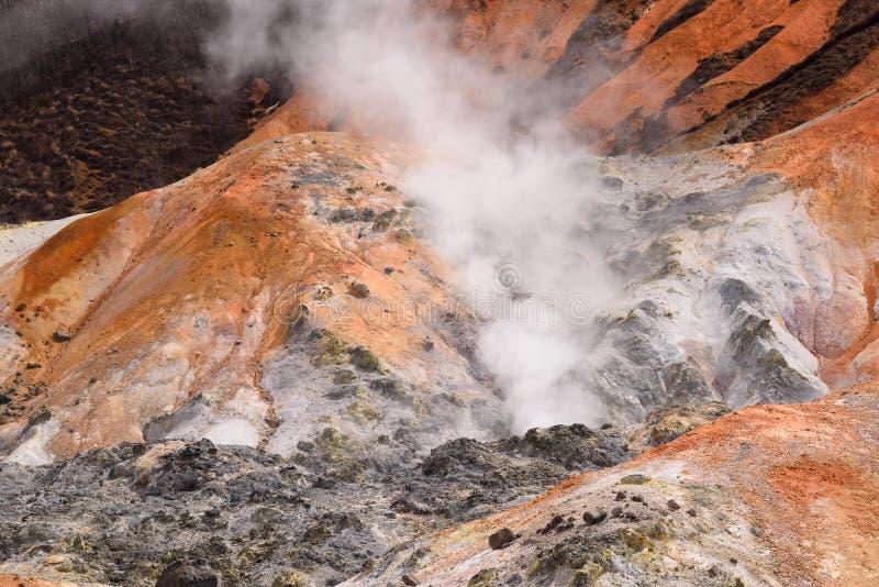 Jigokudani, Japan. Hell Valley in Noboribetsu, Japan stock images