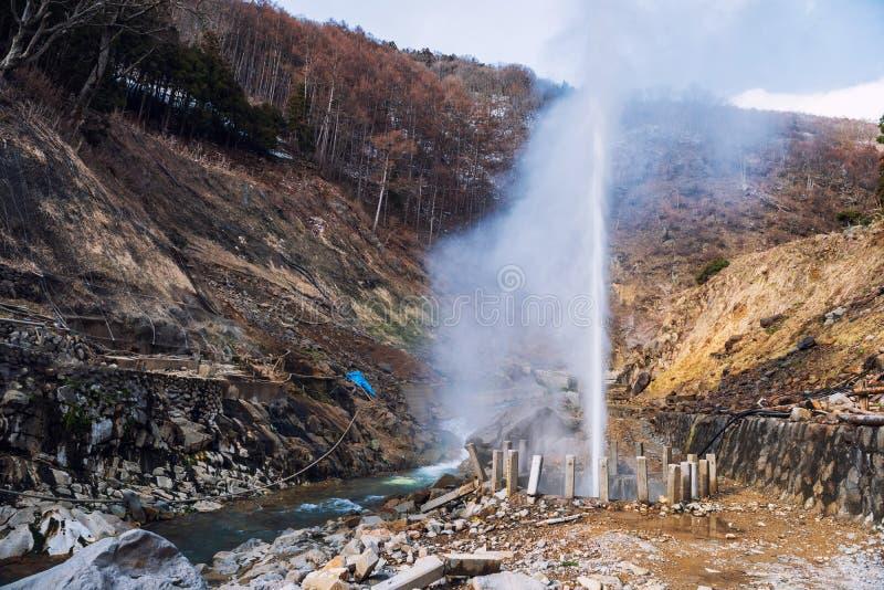 Jigokudani małpy park z gorącej wiosny fontanną fotografia stock