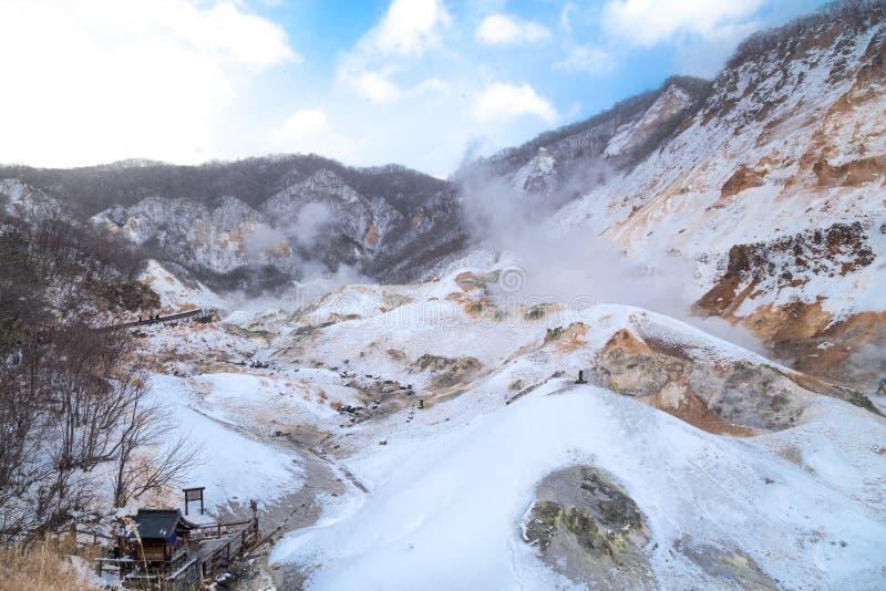 Jigokudani o valle del infierno, atracción de las aguas termales durante invierno imagenes de archivo