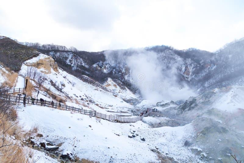Jigokudani o valle del infierno, atracción de las aguas termales durante invierno fotografía de archivo