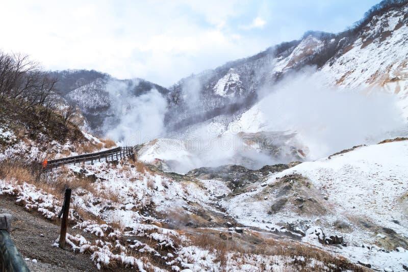 Jigokudani o valle del infierno, atracción de las aguas termales durante invierno imágenes de archivo libres de regalías