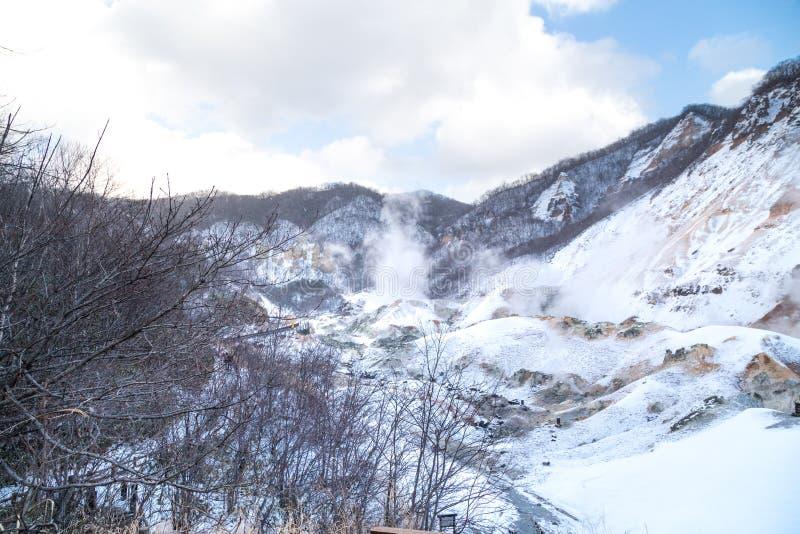 Jigokudani o valle del infierno, atracción de las aguas termales durante invierno imagen de archivo libre de regalías