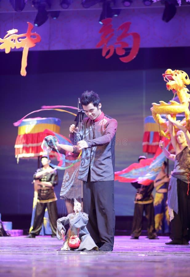 Jigong de vida de Buda del alambre de la demostración china del puppetry fotografía de archivo