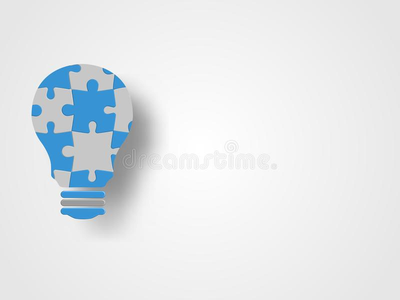 Jigsaw in the lightbulb shape represent new idea and innovation concept. Technology Background. Concept of engineering. royalty free illustration