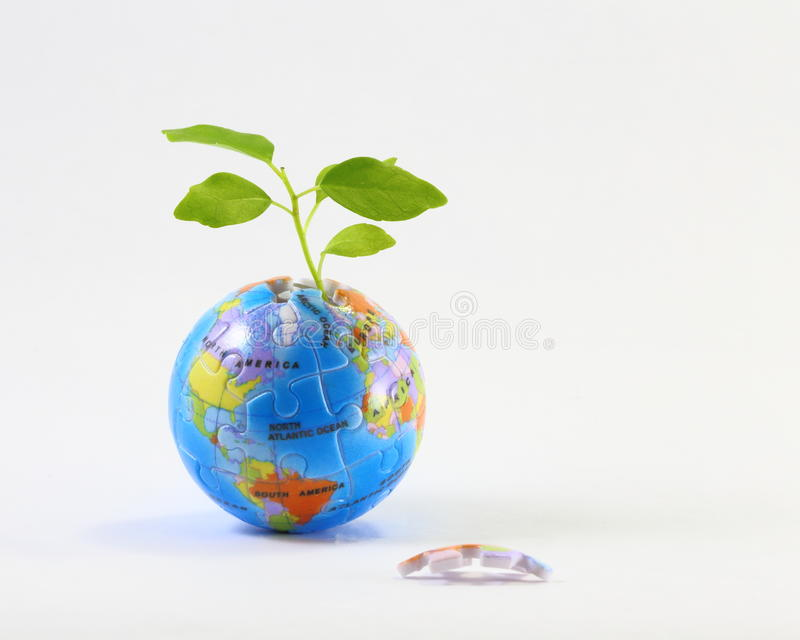 Jigsaw Earth plant. Earth jigsaw puzzle unfinished planet with plant stock image