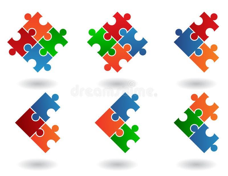 jigsaw för 6 symboler royaltyfri illustrationer