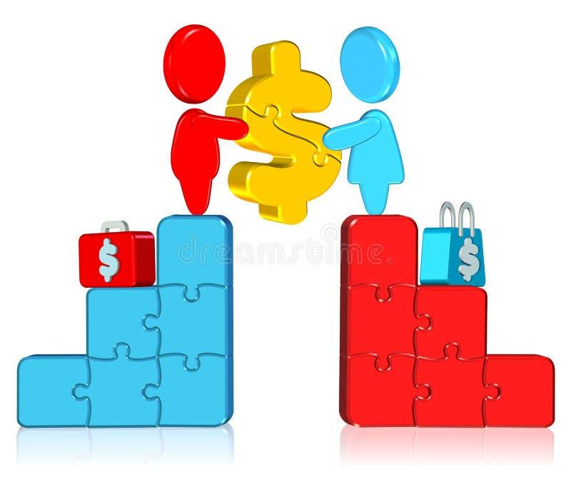jigsaw för affärsdiagram royaltyfri illustrationer