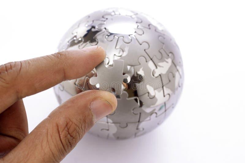 Jigsaw globe stock photos
