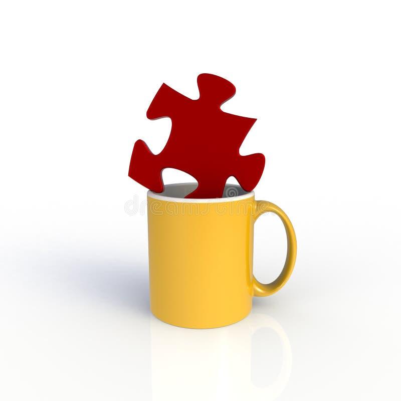 Jigsaw met een gele koffiebeker geïsoleerd op witte achtergrond Malplaatje van de Mock omhoog voor toepassingsontwerp Apparatuur  vector illustratie
