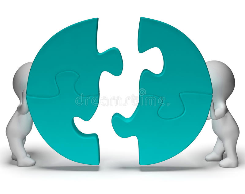 Jigsaw Pieces Being Joined Showing Teamwork And Togetherness Royalty Free Stock Photos