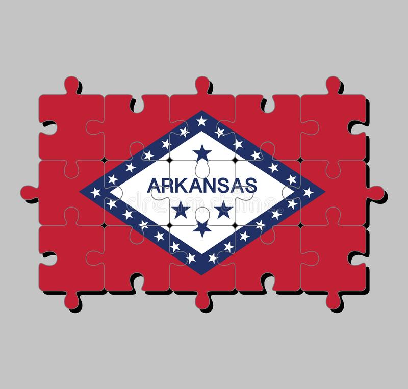 Jigsaw puzzle of Arkansas flag in a field of red and white diamond, bordered by blue and the word `Arkansas` and stars. The states of America, Concept of vector illustration