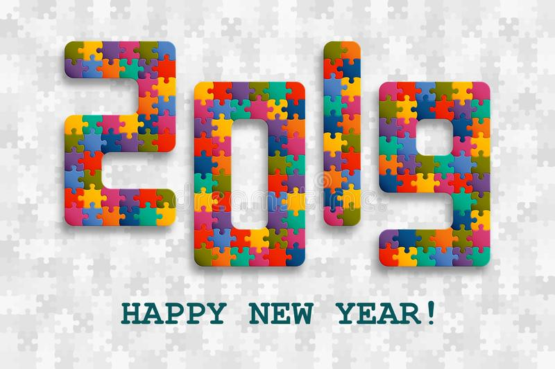 2019 jigsaw puzzle background with many colorful pieces. Happy New Year card design. Abstract mosaic template vector illustration