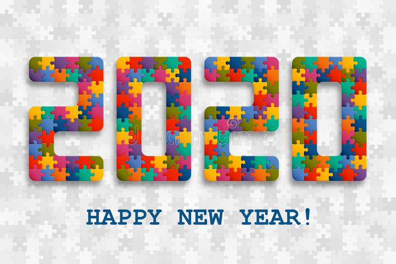 2020 jigsaw puzzle background with many colorful pieces. Happy New Year card design. Abstract mosaic template stock illustration