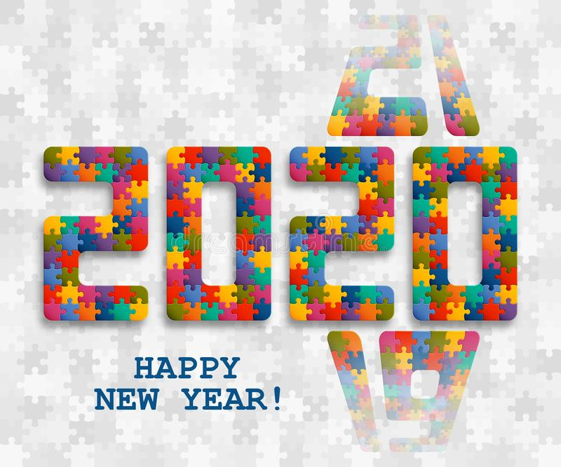 2020 jigsaw puzzle background with many colorful pieces. Happy New Year card design. Abstract mosaic template royalty free illustration