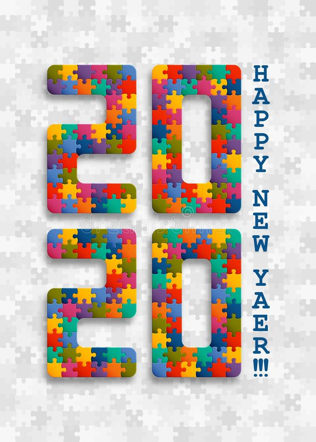 2020 jigsaw puzzle background with many colorful pieces. Happy New Year card design. Abstract mosaic template vector illustration