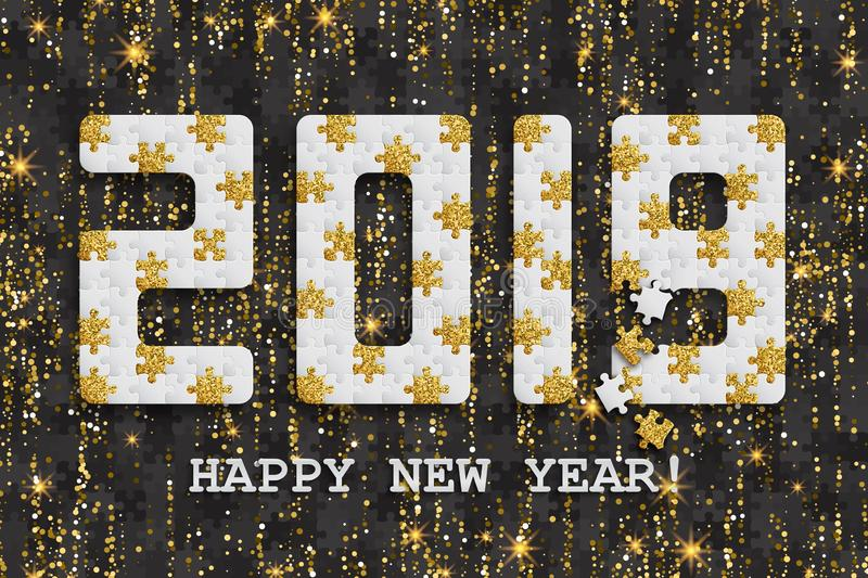 2019 jigsaw puzzle background with many golden glitter and black pieces. Happy New Year card design. Abstract mosaic royalty free illustration