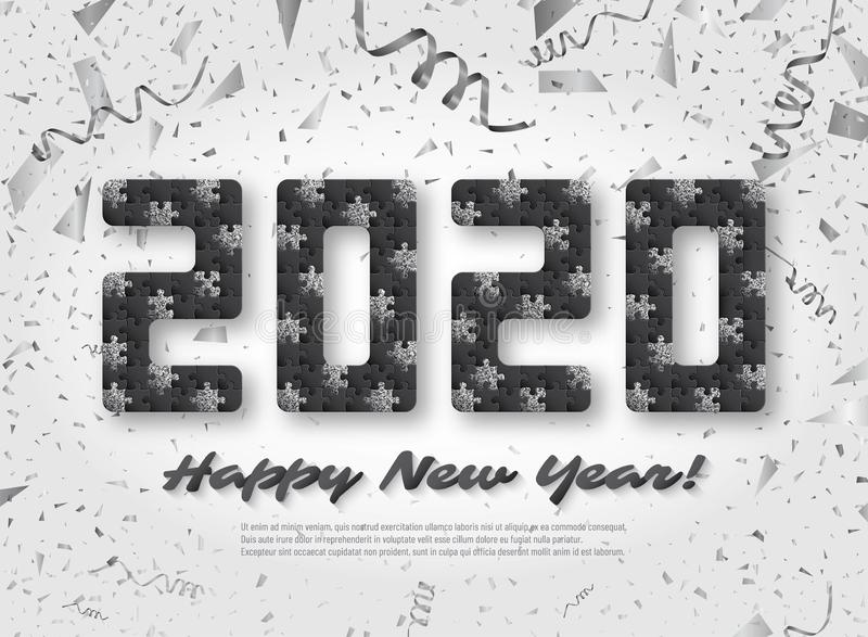 2020 jigsaw puzzle background with many silver glitter and black pieces. Happy New Year card design. Abstract mosaic stock illustration