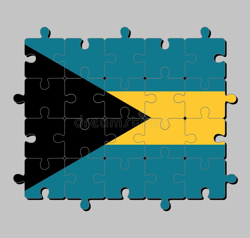 Jigsaw puzzle of Bahamas flag in triband of aquamarine top and bottom and gold with the black chevron aligned to the hoist-side. Concept of Fulfillment or vector illustration