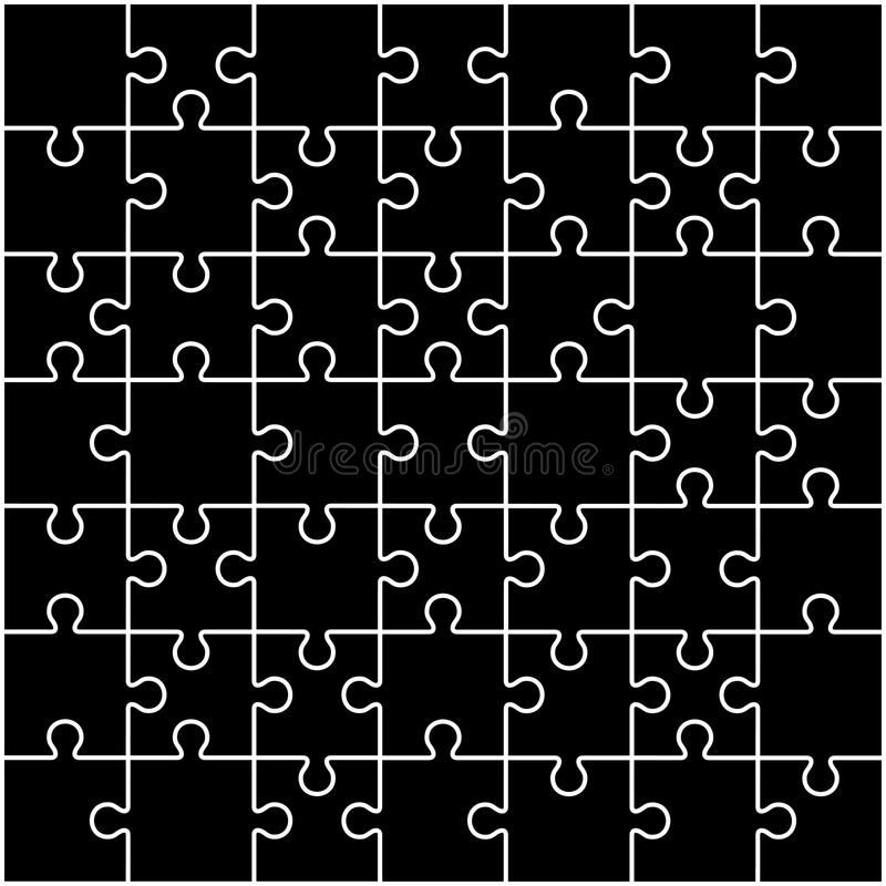 Jigsaw Puzzle Blank Parts Template X Pieces Stock Vector