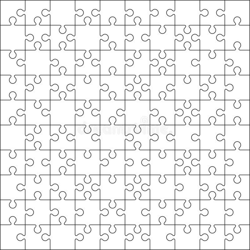 100 Jigsaw puzzle vector illustration