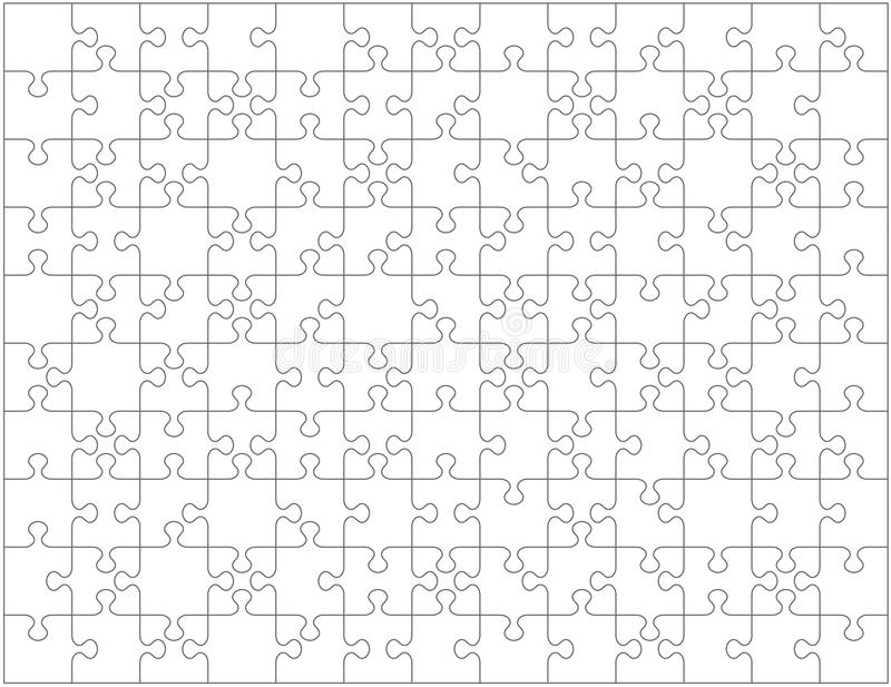 Jigsaw puzzle blank template or cutting guidelines with pieces of various shapes, horizontally oriented. Jigsaw puzzle blank template or cutting guidelines with royalty free illustration