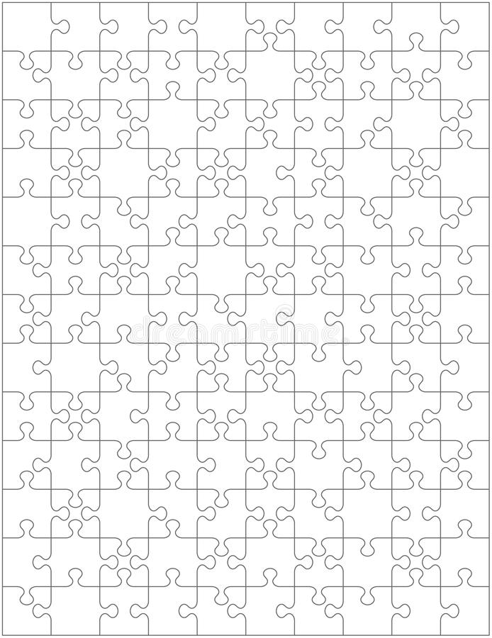 Jigsaw puzzle blank template or cutting guidelines with pieces of various shapes, vertically oriented. Jigsaw puzzle blank template or cutting guidelines with royalty free illustration