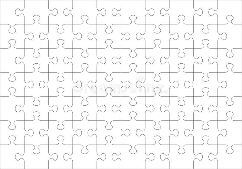 Jigsaw puzzle blank template of 70 pieces royalty free illustration