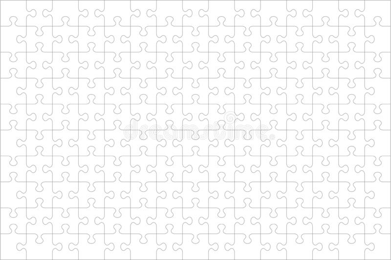Jigsaw puzzle blank template of 150 pieces, horizontal vector illustration