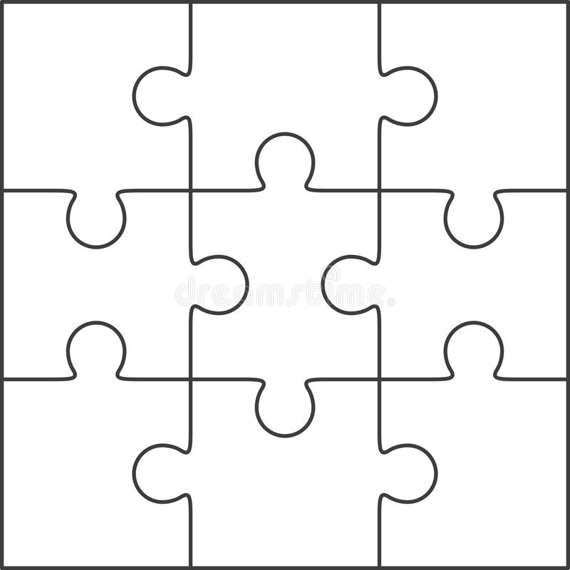 Download Jigsaw Puzzle Blank Template 3x3 Stock Illustration