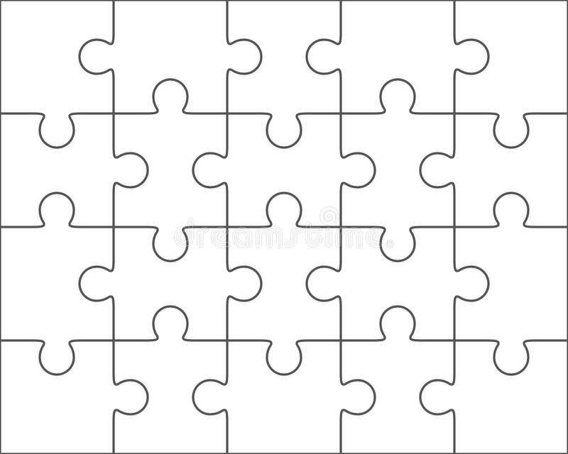 Jigsaw Puzzle Blank Template X Twenty Pieces Stock Illustration