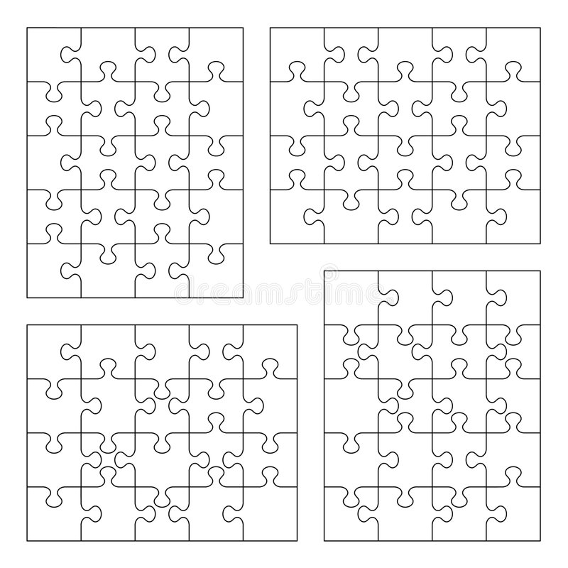 Jigsaw puzzle blank templates royalty free illustration
