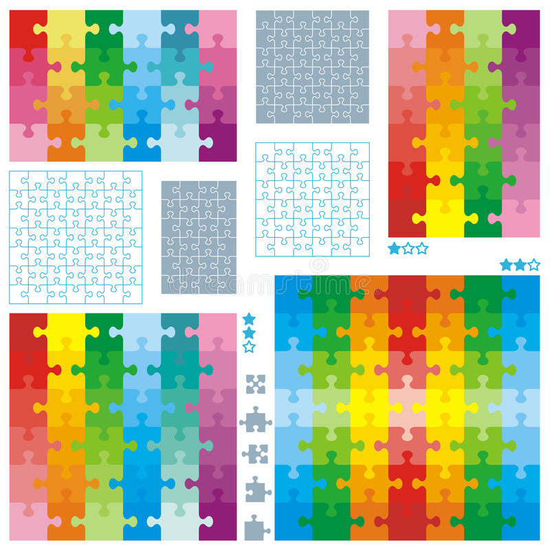 Jigsaw puzzle blank templates and colorful pattern stock illustration