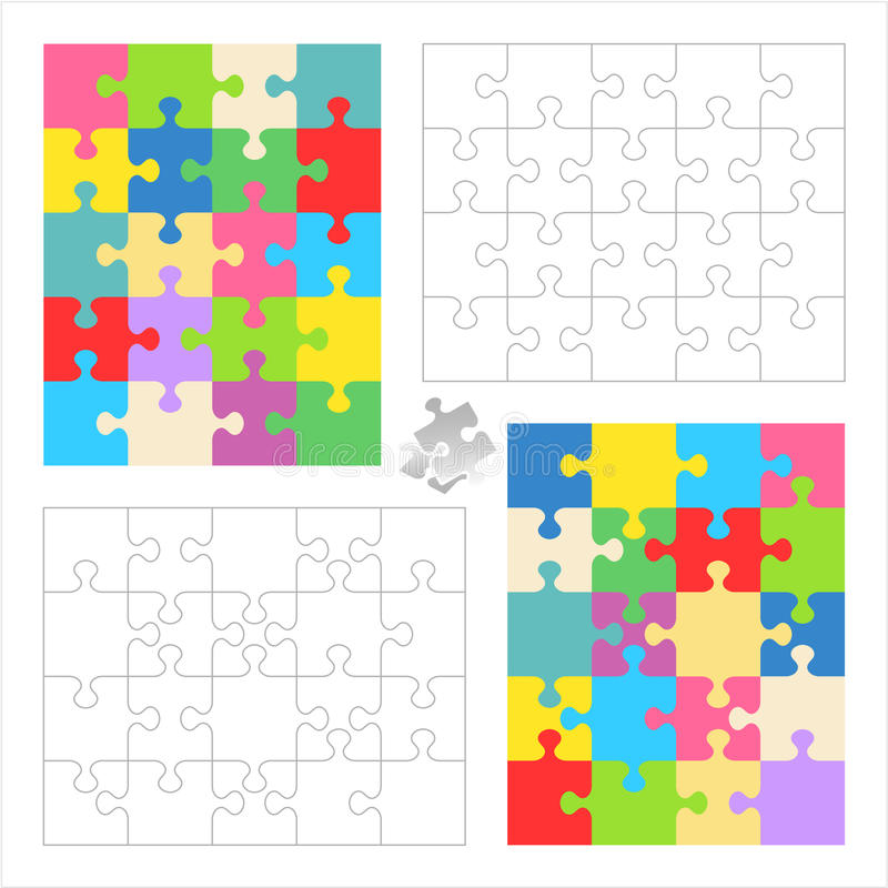Jigsaw puzzle blank templates, colorful patterns. Jigsaw puzzles 4x5 and 5x4 blank templates (cutting guidelines) and colorful patterns of trendy colors. Overlay stock illustration