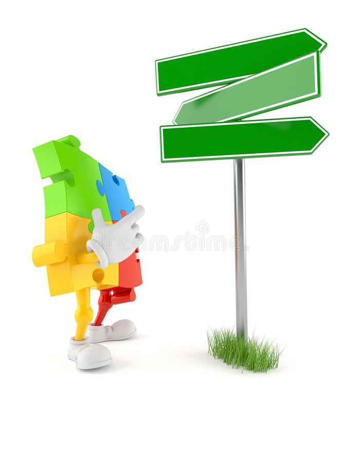 Jigsaw puzzle character with blank signpost. Isolated on white background. 3d illustration stock illustration