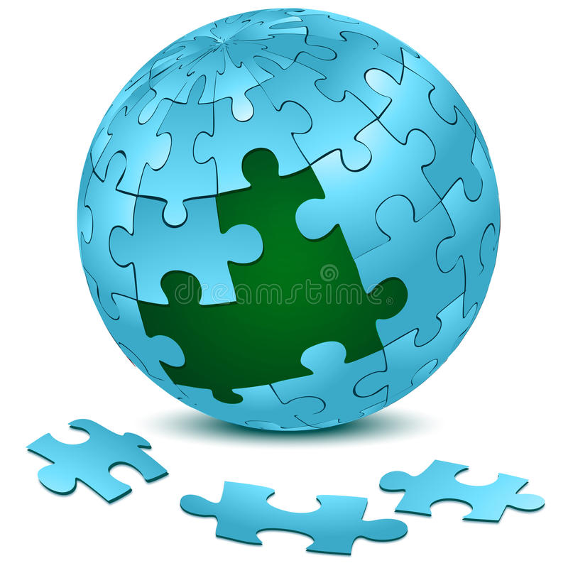 Jigsaw puzzle on earth stock illustration