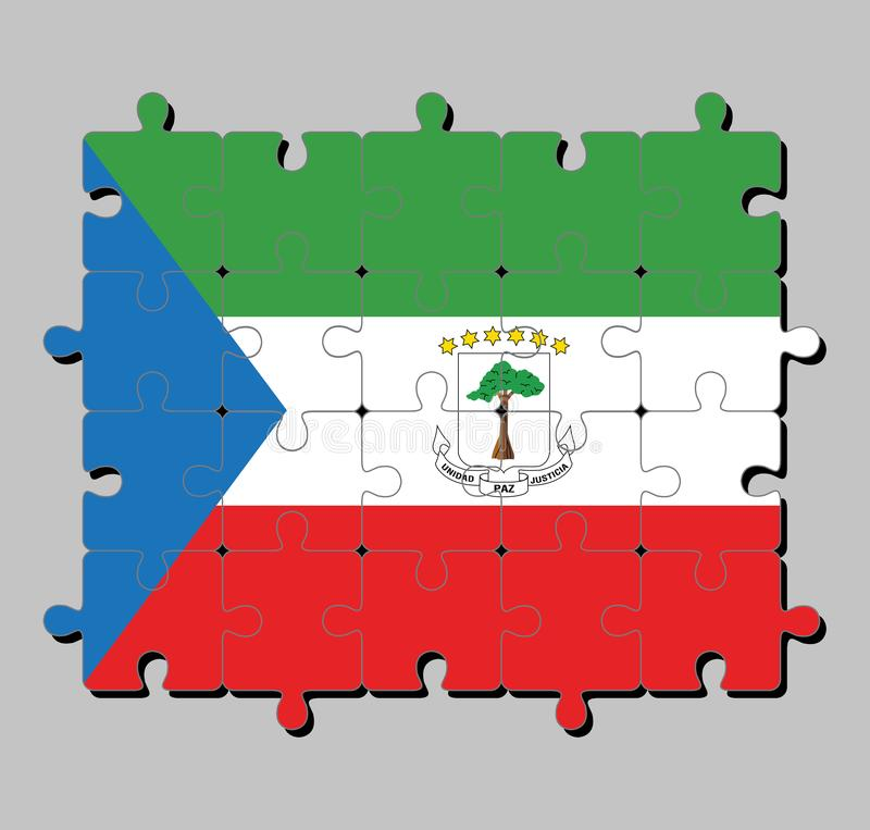Jigsaw puzzle of Equatorial Guinea flag in tricolor of green white and red with a blue triangle and the National Coat of arms. stock illustration