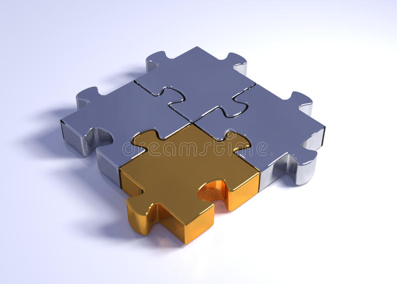 Jigsaw Puzzle. Four metal jigsaw puzzle pieces joined together stock photos