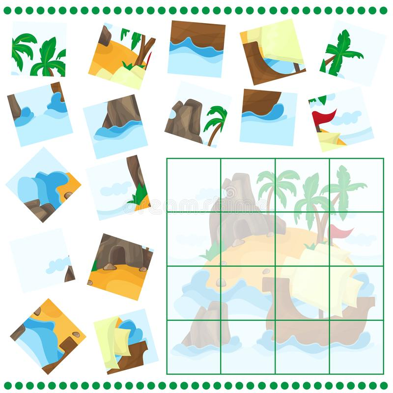 Free Jigsaw Puzzle Game For Children Cartoon With Island And Ship Royalty Free Stock Images - 100852719