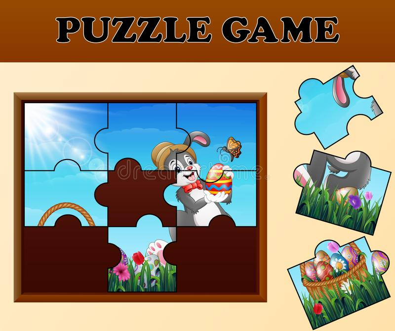 Jigsaw puzzle game with happy easter bunnies vector illustration