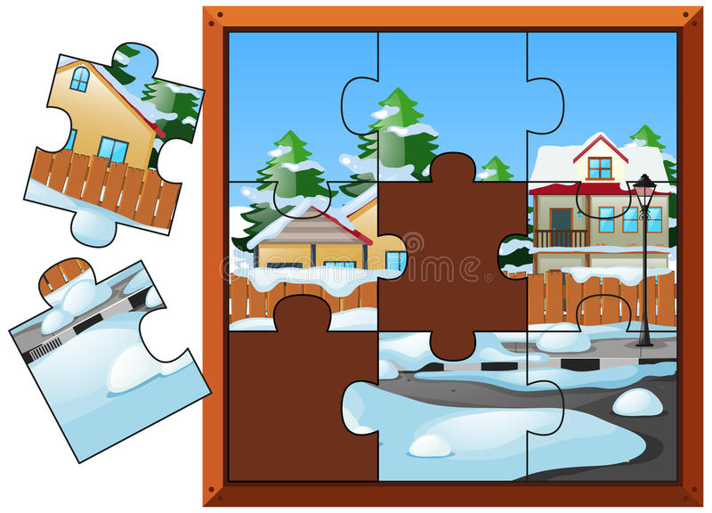 Jigsaw puzzle game with houses in winter. Illustration stock illustration
