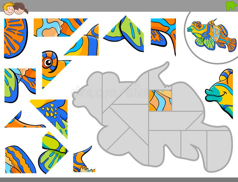 Jigsaw Puzzle Game With Sea Fish Character Stock Vector ...