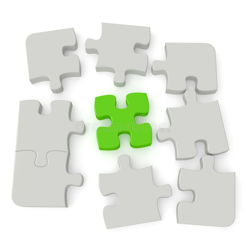 Jigsaw Puzzle. Grey puzzle with a single green main piece on white background. Computer generated image with clipping path vector illustration