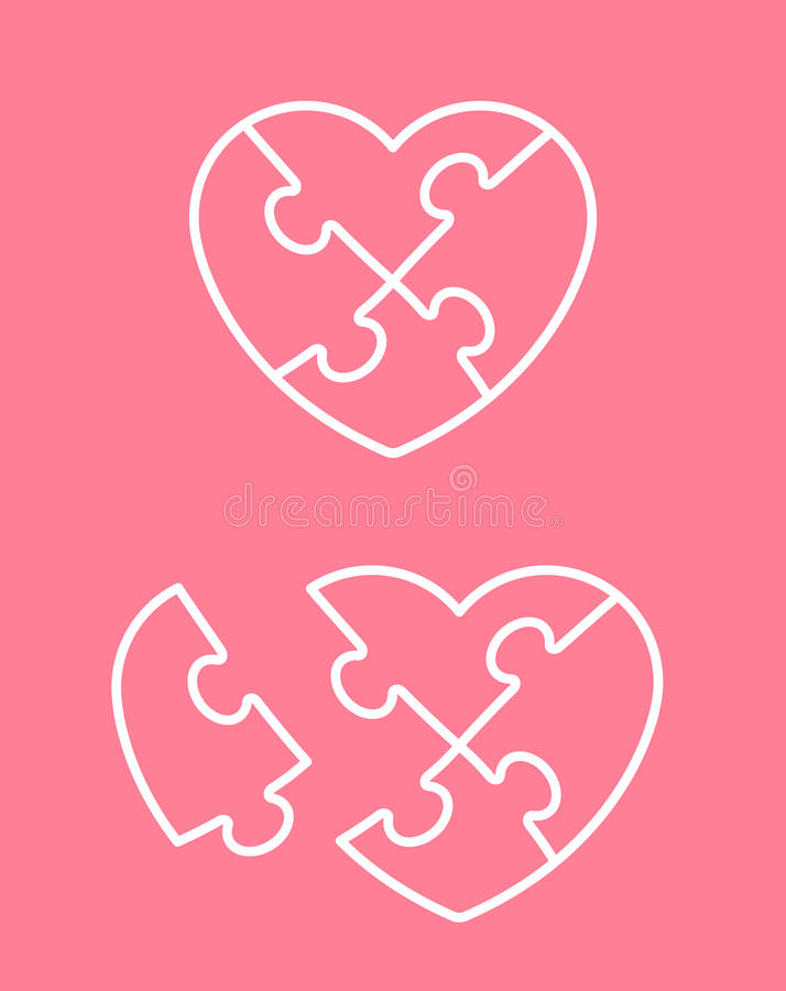 Jigsaw puzzle heart icon with missing piece royalty free illustration