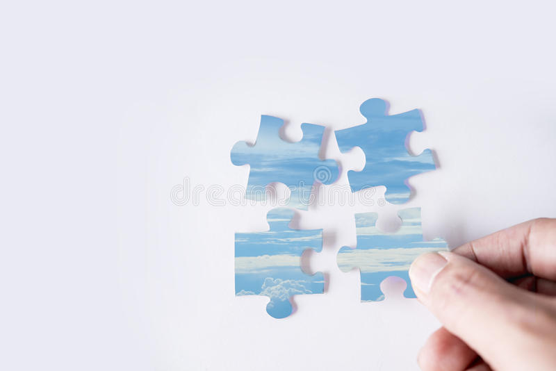 Jigsaw puzzle with image of blue sky royalty free stock image