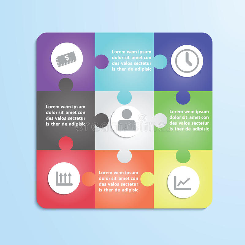 Jigsaw puzzle infographic template royalty free illustration